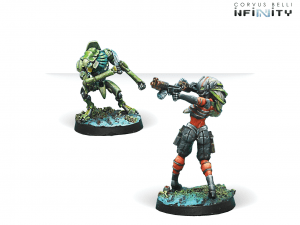 Infinity: Raicho Pilot & Scindron Ancillary Remote Unit (Combined Army Tag Pilots Set) (0629)