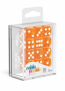 Oakie Doakie Dice Dados D6 16 Mm Translucent – Naranja (12)