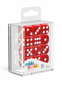 Oakie Doakie Dice Dados D6 16 Mm Solid – Rojo (12)