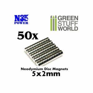 Imanes Neodimio 5x2mm – 50 Unidades (N35)