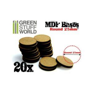Peana DM Redonda / MDF Round Base 25mm – Pack20